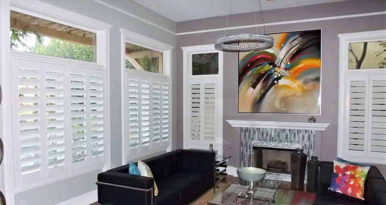 Plantation shutters in a Southern California living room