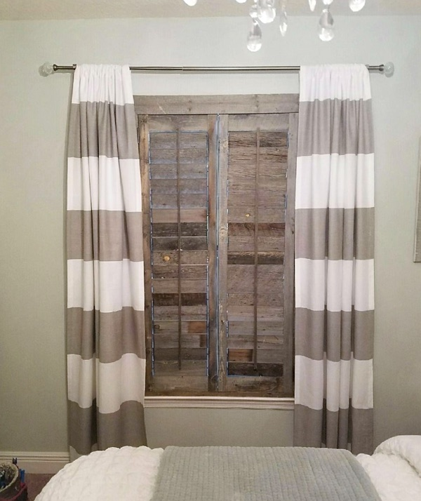 Southern California reclaimed wood shutter bedroom