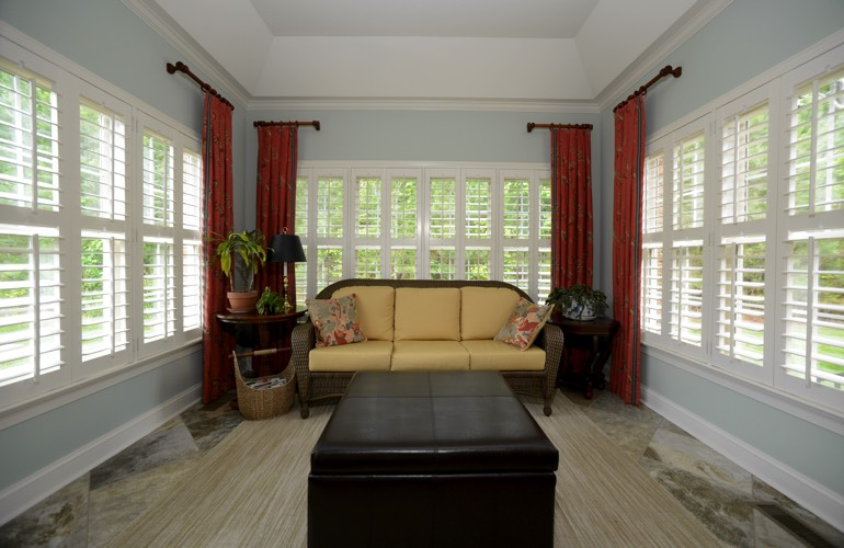 Plantation shutters in a Southern California sitting room