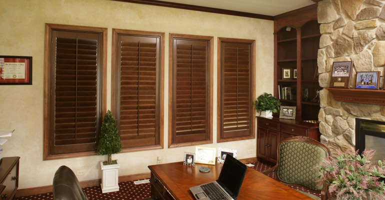Ovation shutters in a Southern California home office