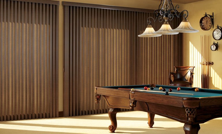 Wood blinds in a game room
