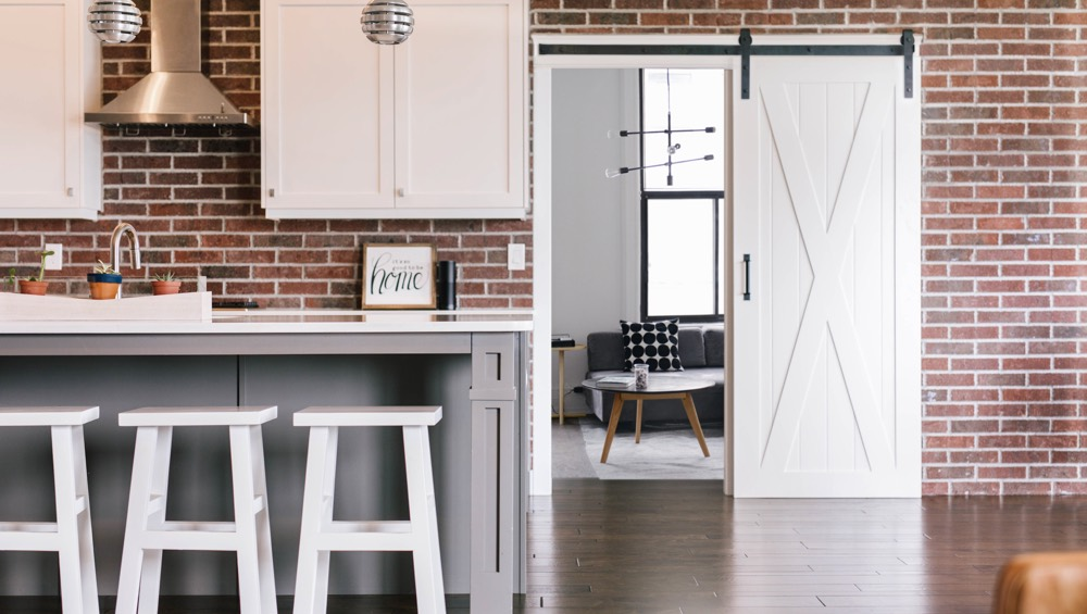 Southern California exposed brick barn door