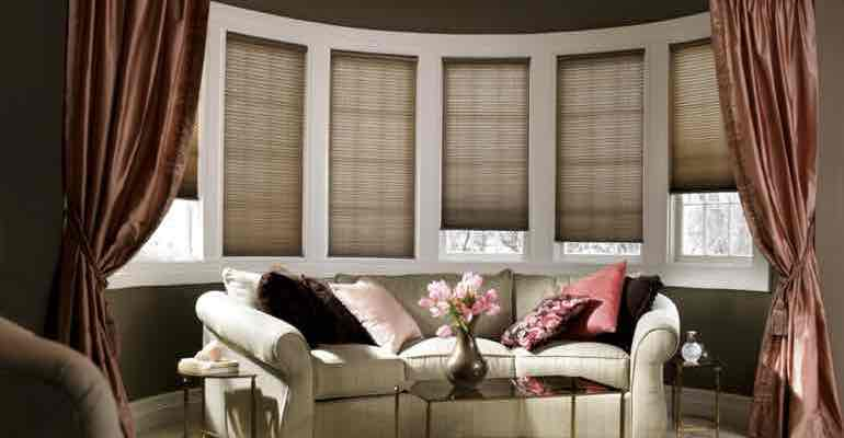Adjule Cellular Shades In Living Room Bow Window