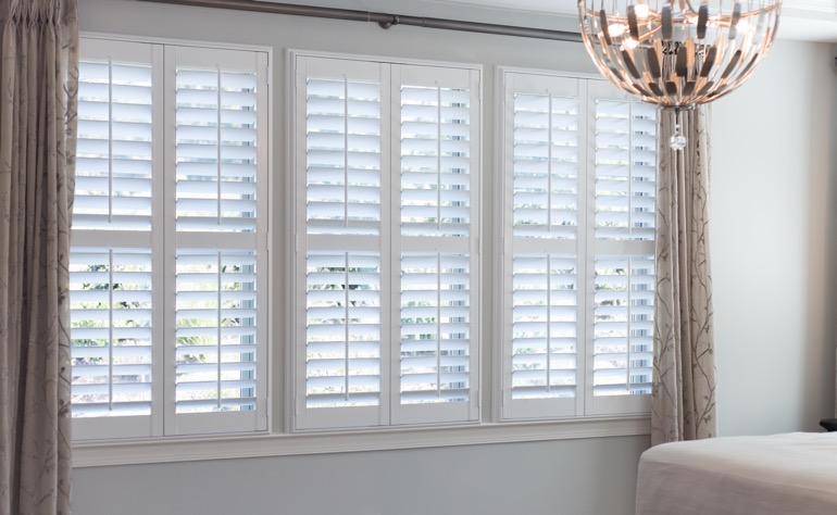 Southern California plantation shutters bedroom