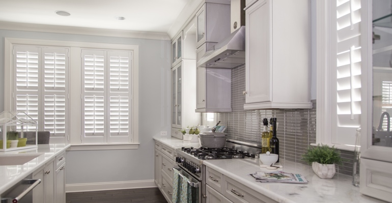 Southern California kitchen white shutters