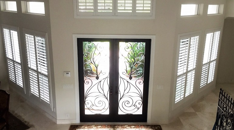 Southern California entryway white shutters