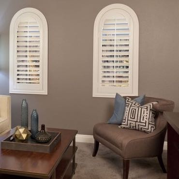 Southern California family room plantation shutters.