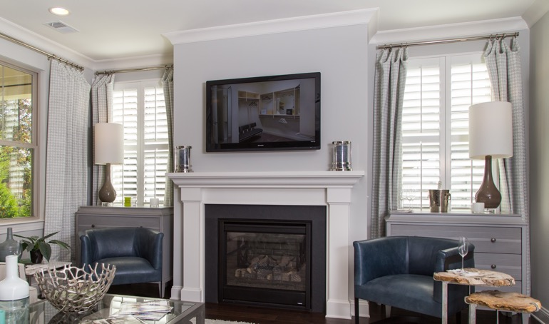 Southern California mantle with white shutters.
