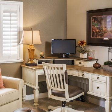 Southern California home office plantation shutters.