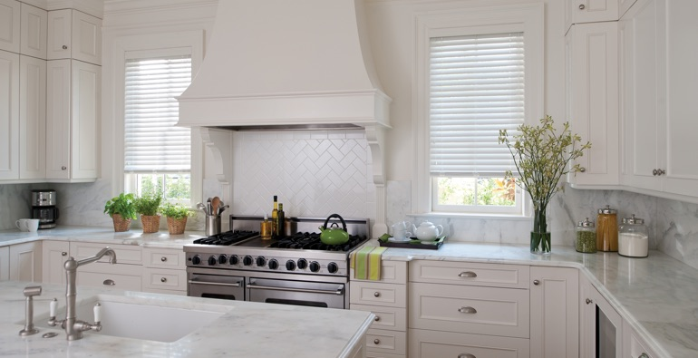 Southern California kitchen white blinds