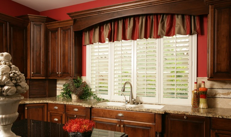 Southern California kitchen shutter and cornice valance