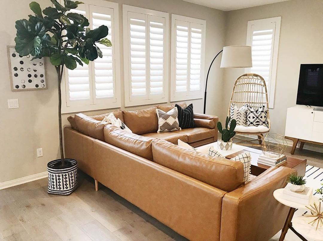 Cozy living room with Polywood shutters in Southern California.