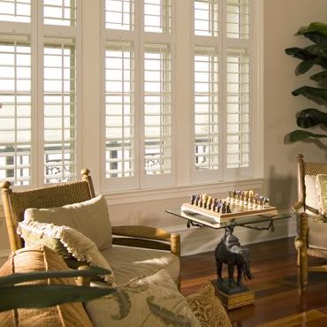 Southern California living room plantation shutters.
