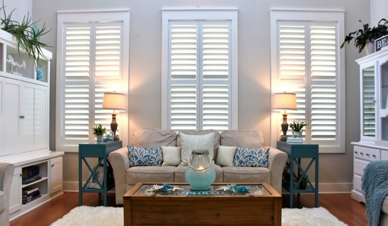 Southern California designer home with faux wood shutters