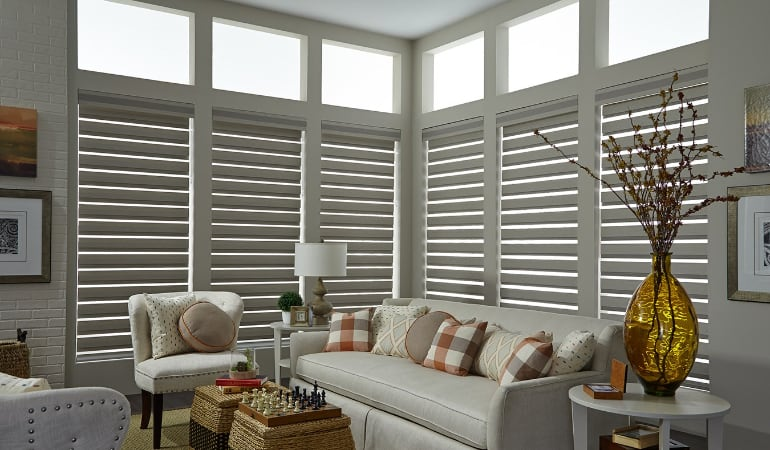 Motorized shades in a Southern California living room.