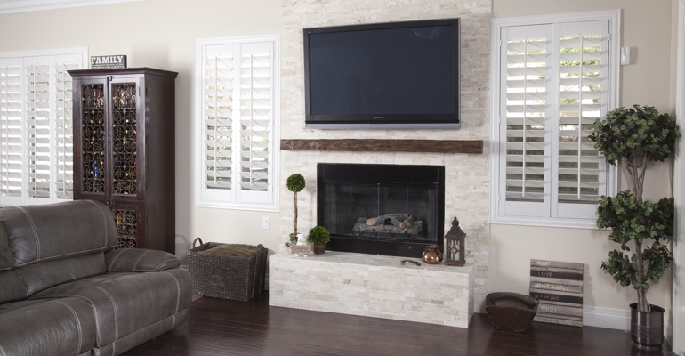 interior shutters in Southern California living room