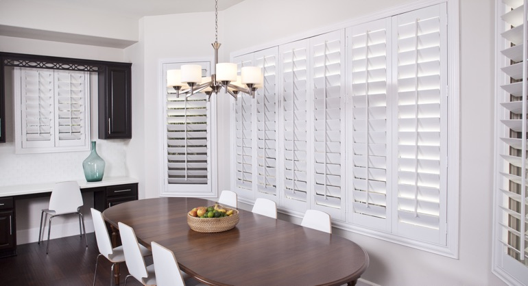 white shutters in Southern California kitchen