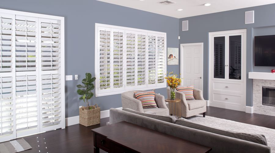 Faux Wood Shutters In pretty Southern California Living Room
