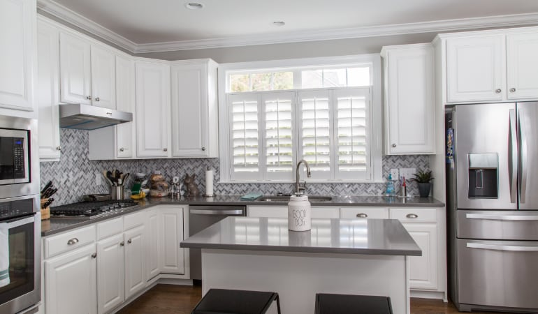 Polywood shutters in a Southern California gourmet kitchen.