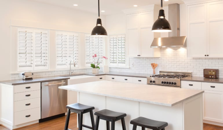 Plantation shutters in a bright Southern California kitchen.