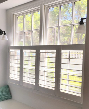 Southern California faux wood cafe shutters