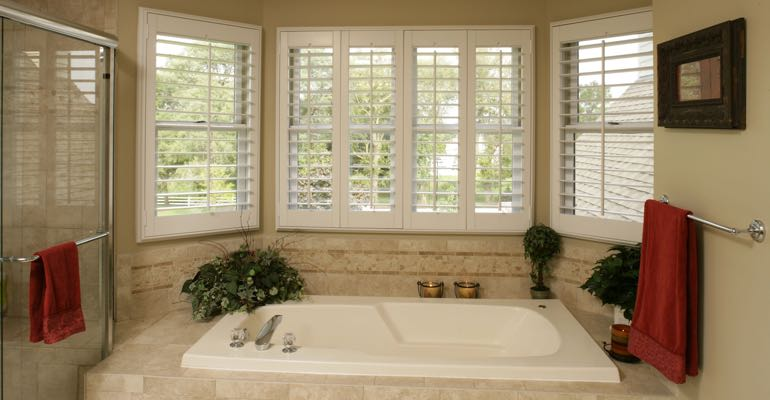 Plantation shutters in Southern California bathroom.