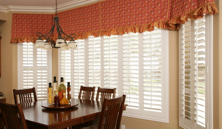 White shutters in Southern California dining room.