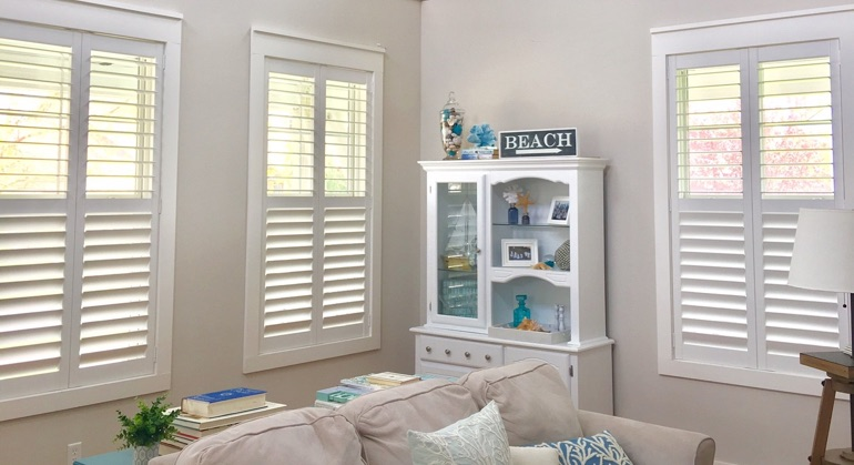white shutters in Southern California sunroom