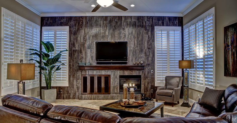 Southern California living room with shutters