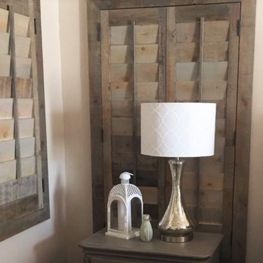 Reclaimed Wood Shutter Southern California Bedroom