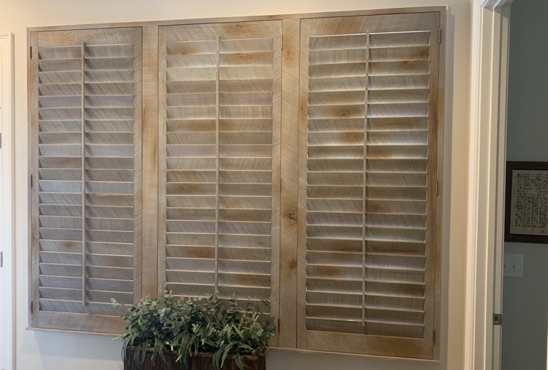 Closed reclaimed wood shutters in Southern California