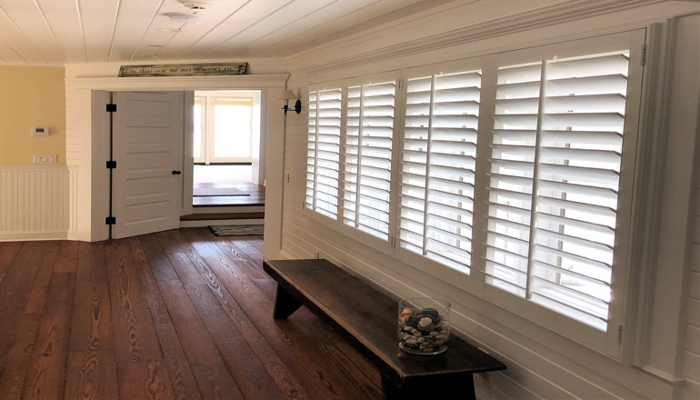 Faux wood plantation shutters in Southern California