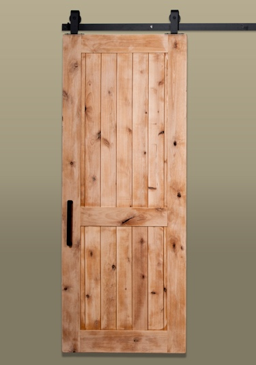 Rustic style barn door with two panels