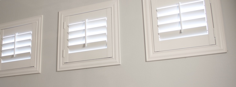 Small Windows in a Southern California Garage with Plantation Shutters