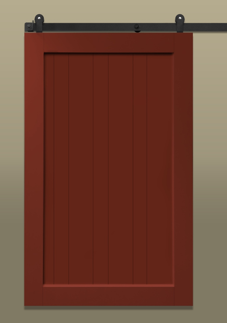 Traditional stile & rail sliding barn door painted red