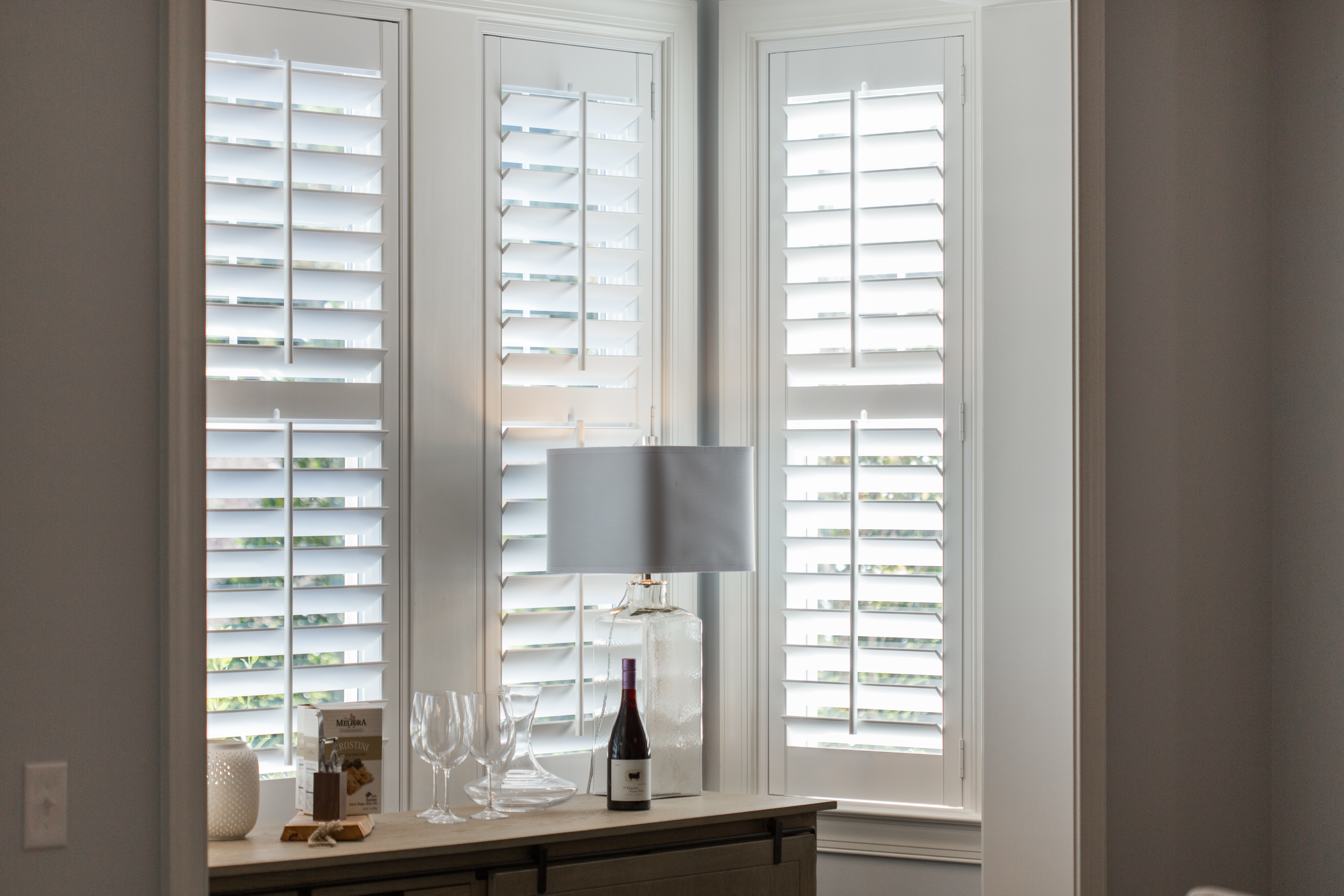 Polywood shutters in Southern California alcove.