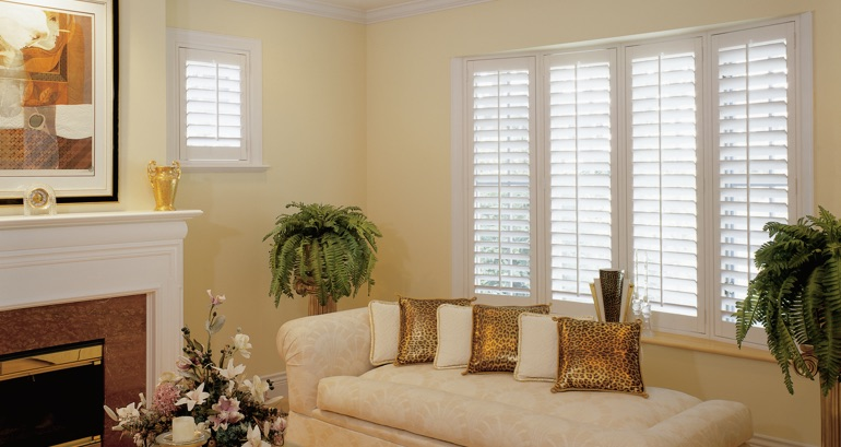 Southern California living room shutters