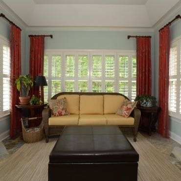 Southern California sunroom polywood shutters.