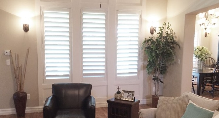 Southern California family room white shutters