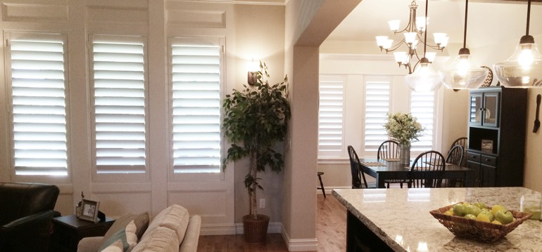 Southern California shutters in kitchen and family room