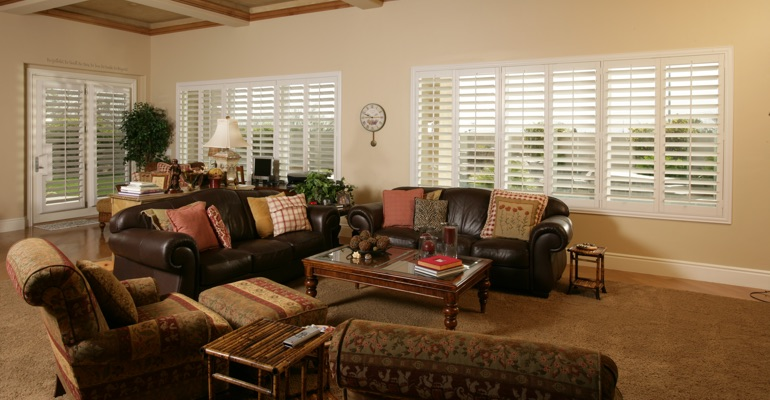 Southern California great room with interior shutters.