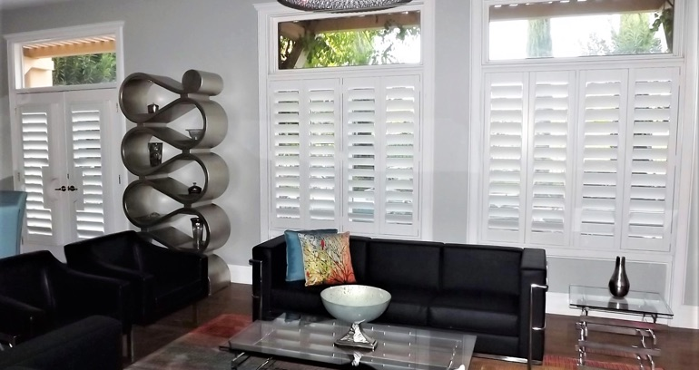 Southern California DIY shutters in living room.