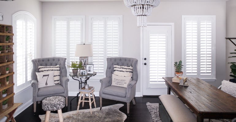 Polywood shutters in a sitting room
