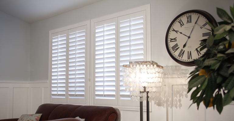 Southern California living room indoor shutters
