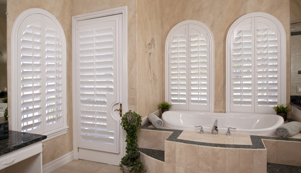 Arched Shutters In A Southern California Bathroom