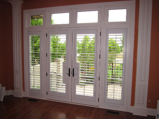 Southern California patio door with sidelight shutters