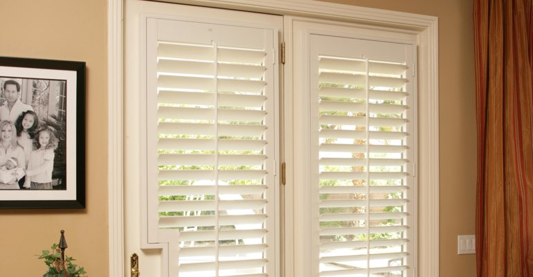 Southern California french door white shutters