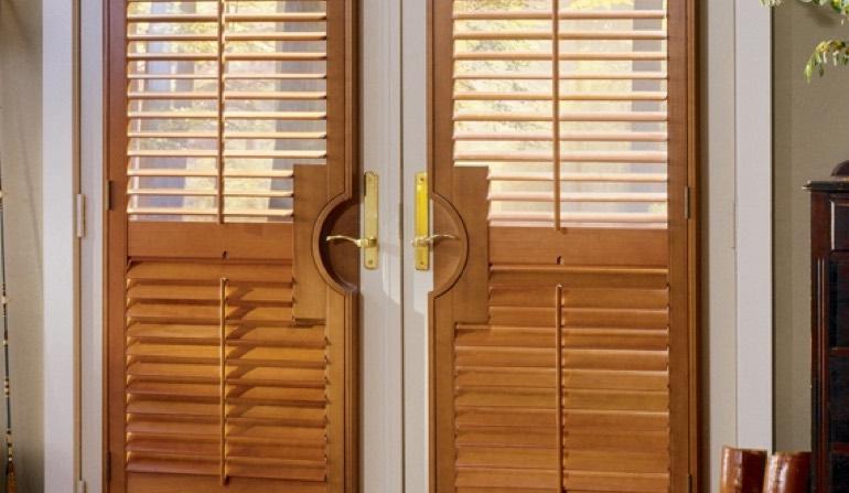 French Door Shutters. Circle Handle Cutout