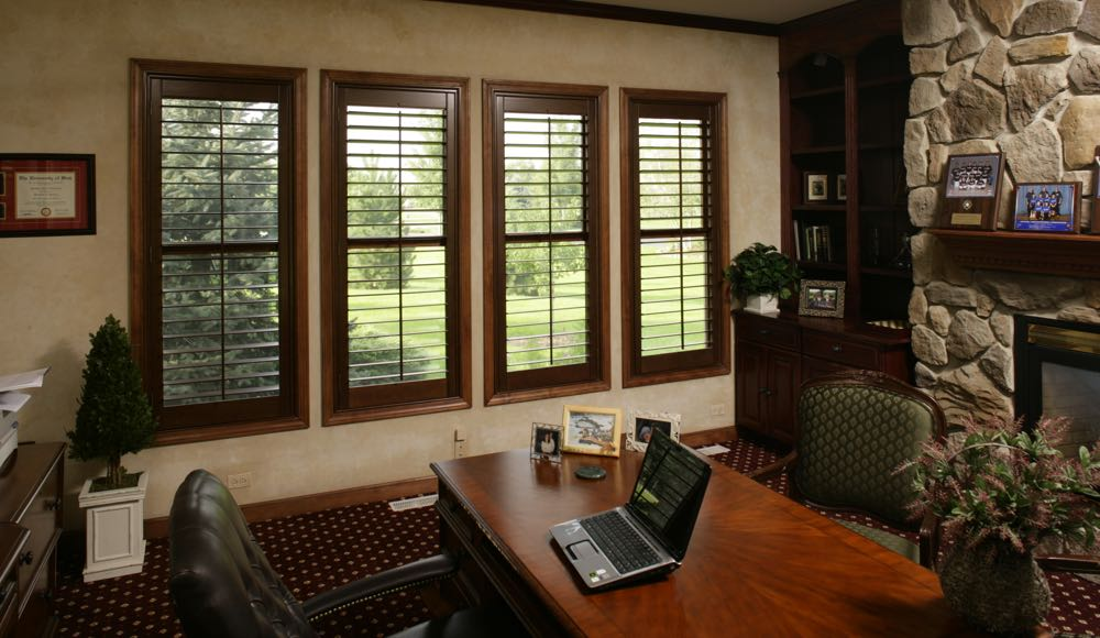 Natural Wood Shutters In A Southern California Office At Home.