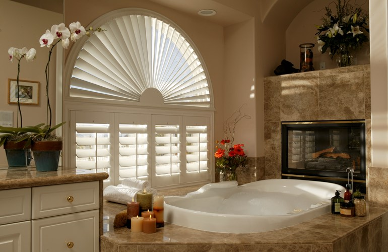 Our Professionals Installed Shutters On A Sunburst Arch Window In Southern California